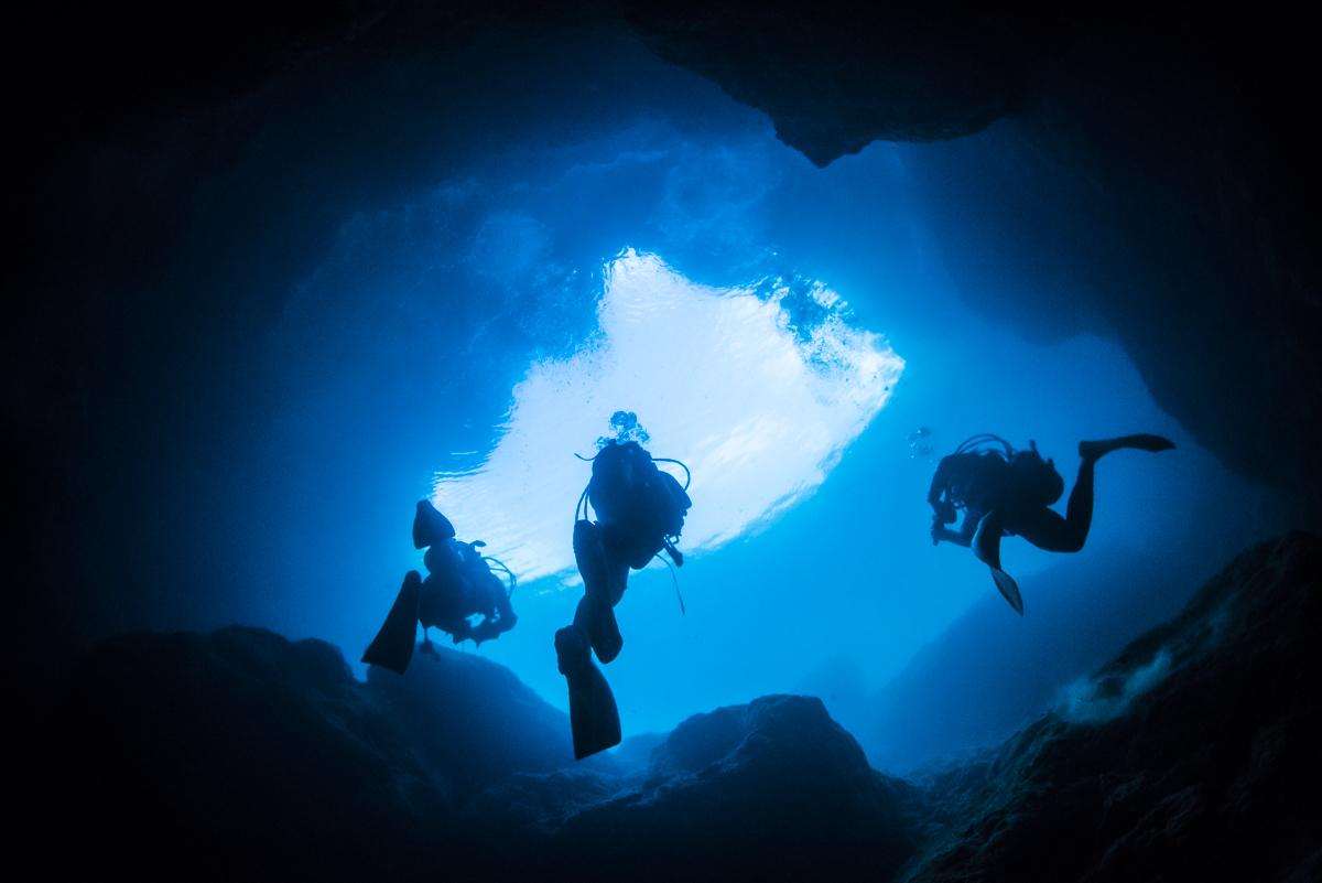 水面に浮上するダイバー マリンレイク