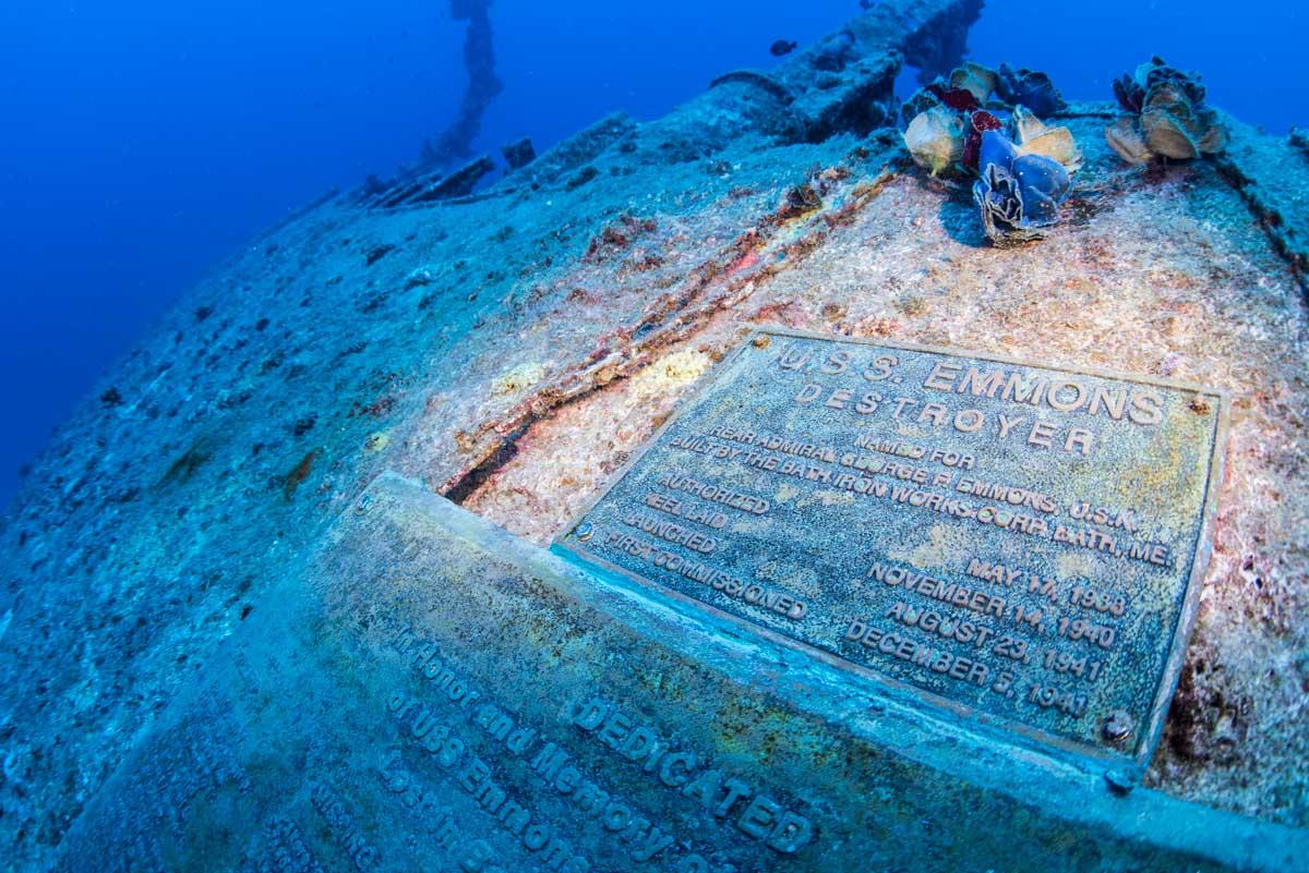 第二次世界大戦の沈没船・エモンズのメモリアルプレート